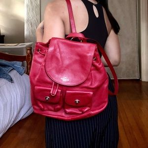 Coach Red Leather Backpack